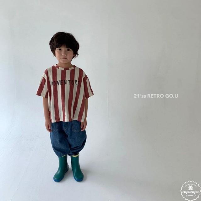 «予約»«ジュニア» go.u retro stripe T shirts レトロストライプTシャツ ジュニアサイズ