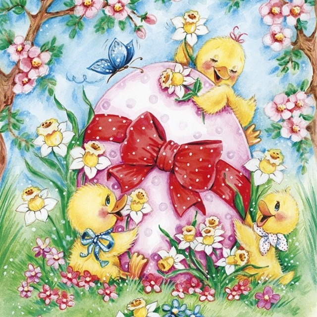 2月下旬入荷|2020春夏【Daisy】バラ売り2枚 ランチサイズ ペーパーナプキン Happy Chicken with Big Easter Egg カラフル