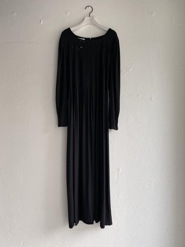 vintage rayon dress - black -