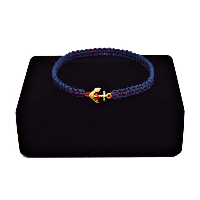 【無料ギフト包装/送料無料/限定/翌日発送】K18 Gold Anchor Bracelet / Anklet Navy×Red【品番 17S2010】
