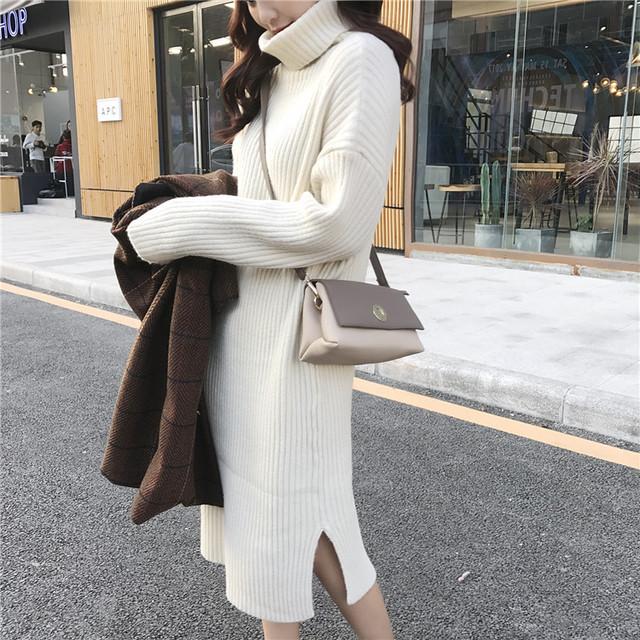 【dress】秋冬ニットワンピースハイネックシンプル無地ワンピース