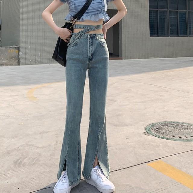 【ボトムス】ファッション無地スリットハイウエストデニムパンツ43754501