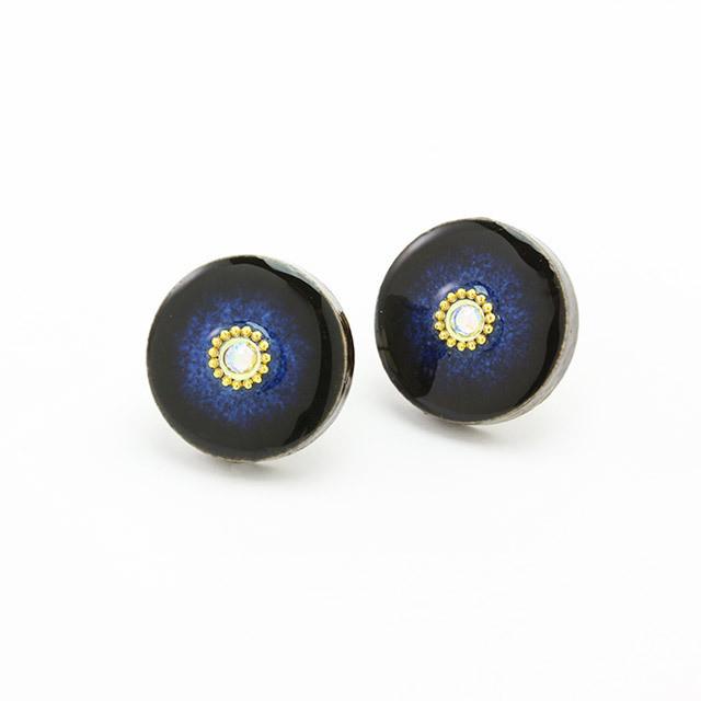 藍色 丸 開花 ビジューイヤリング&ピアス 美濃焼  陶器