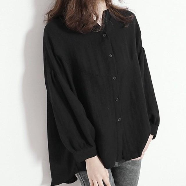 【トップス】合わせやすいシングルブレスト無地Vネックボタンシャツ43371506