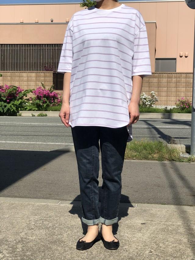 PASSIONE/ボーダーTシャツ/126452(ホワイト×ラベンダー)