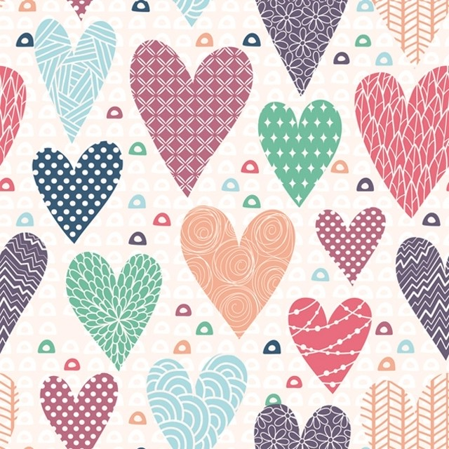 【Daisy】バラ売り2枚 ランチサイズ ペーパーナプキン Patterned Hearts ピンク