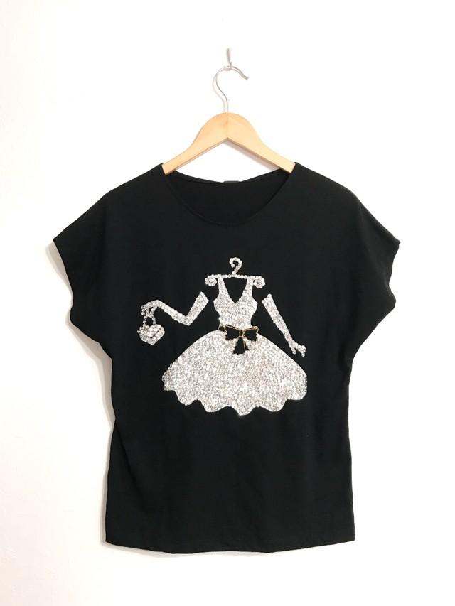 ビーズ&スパンコールのドレス柄フレンチスリーブTシャツ ブラック