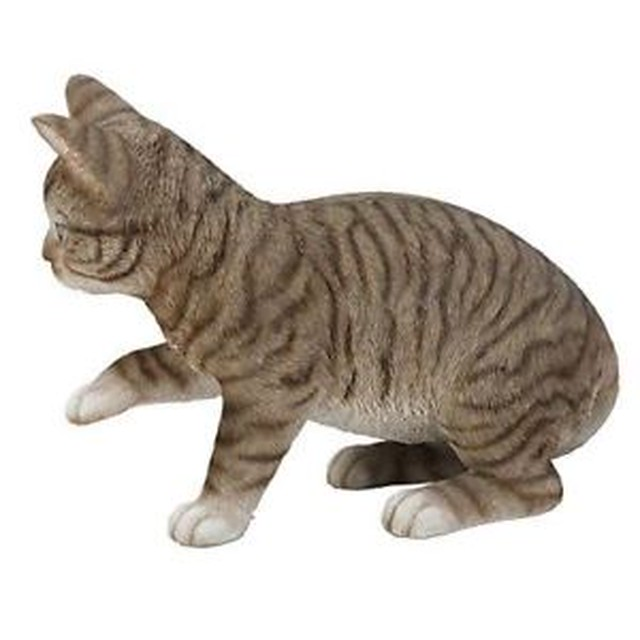 【送料無料】ガラス#playful grey tabby cat kitten figurine w glass eyes 1375034;long hand paint resin