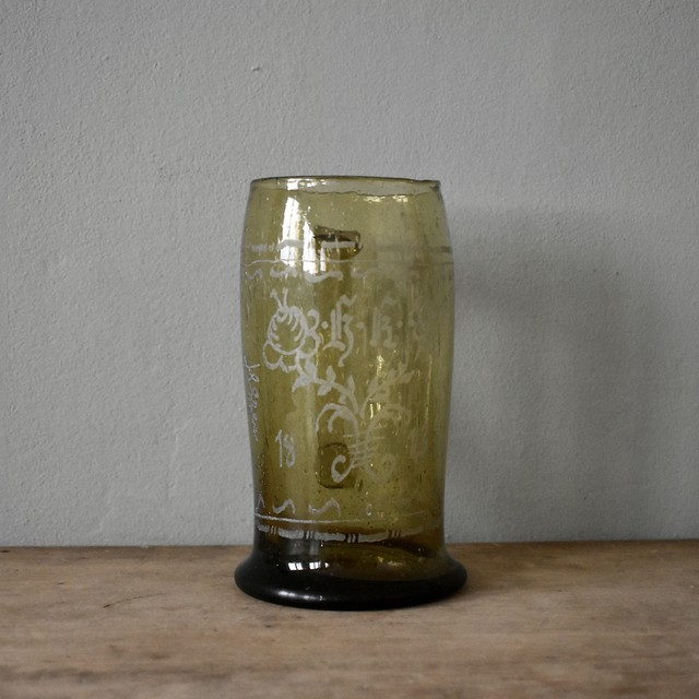 Green hand blown engraved glass beer mug