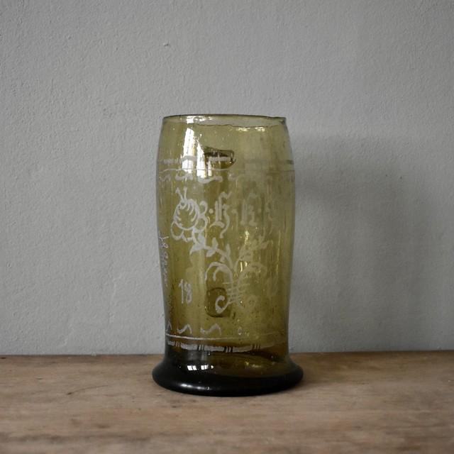 Green hand blown engraved glass beer mug