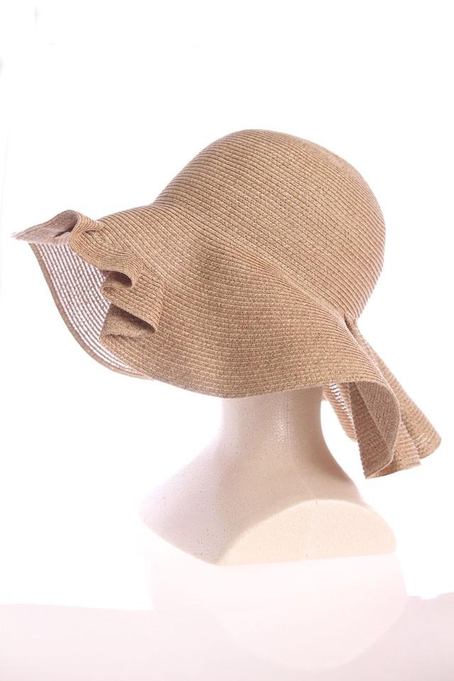 フリル麦わら帽子