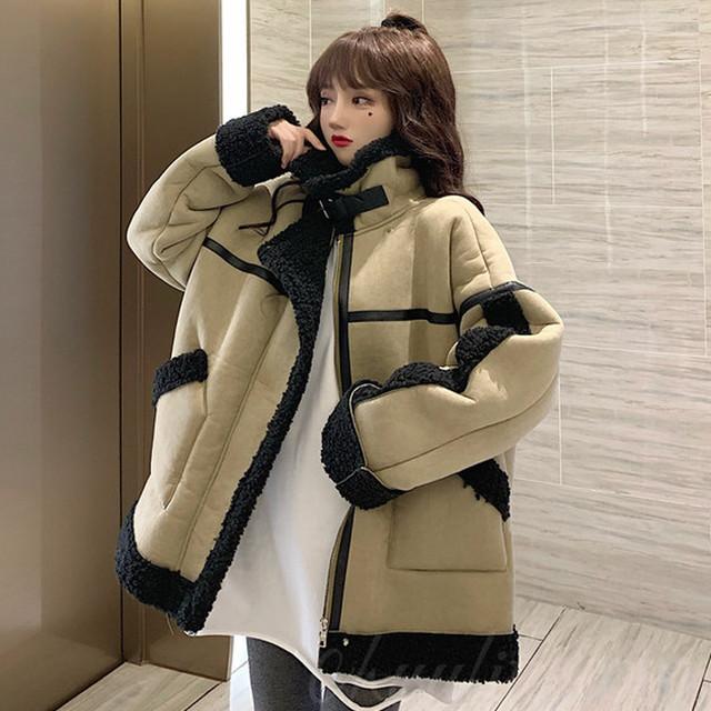 【アウター】ファッション韓国系切り替え配色ジッパーダウンコート35419710
