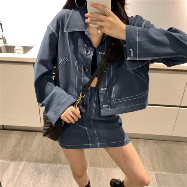 デニムジャケット+ミニスカート S2508