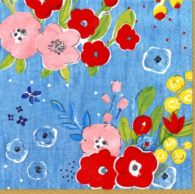 【Easy Life】バラ売り2枚 ランチサイズ ペーパーナプキン HENR ブルー
