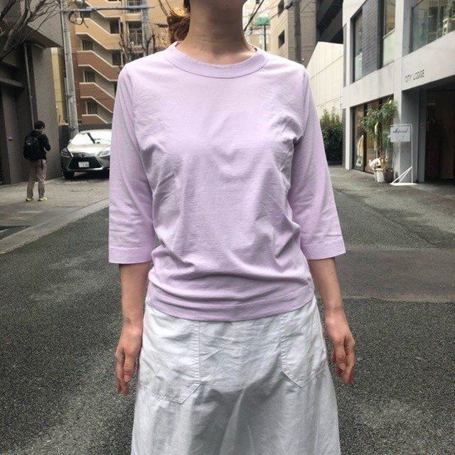 homspun (ホームスパン) 天竺七分袖Tシャツ ブラウン/ピンク