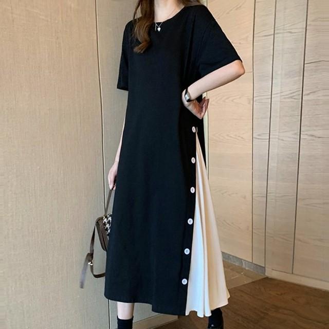 【ワンピース】絶対流行 ファッション配色切り替えラウンドネック半袖カジュアルワンピース46491495