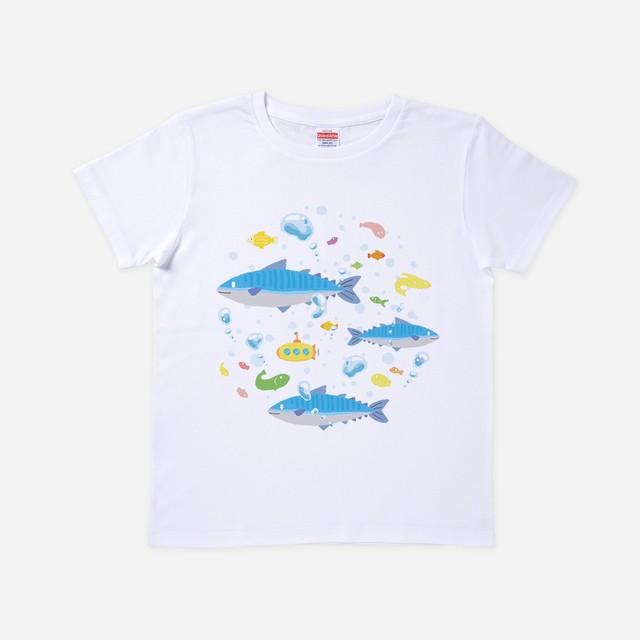 Tシャツ[URAMABUTA]さばワールド ホワイト色