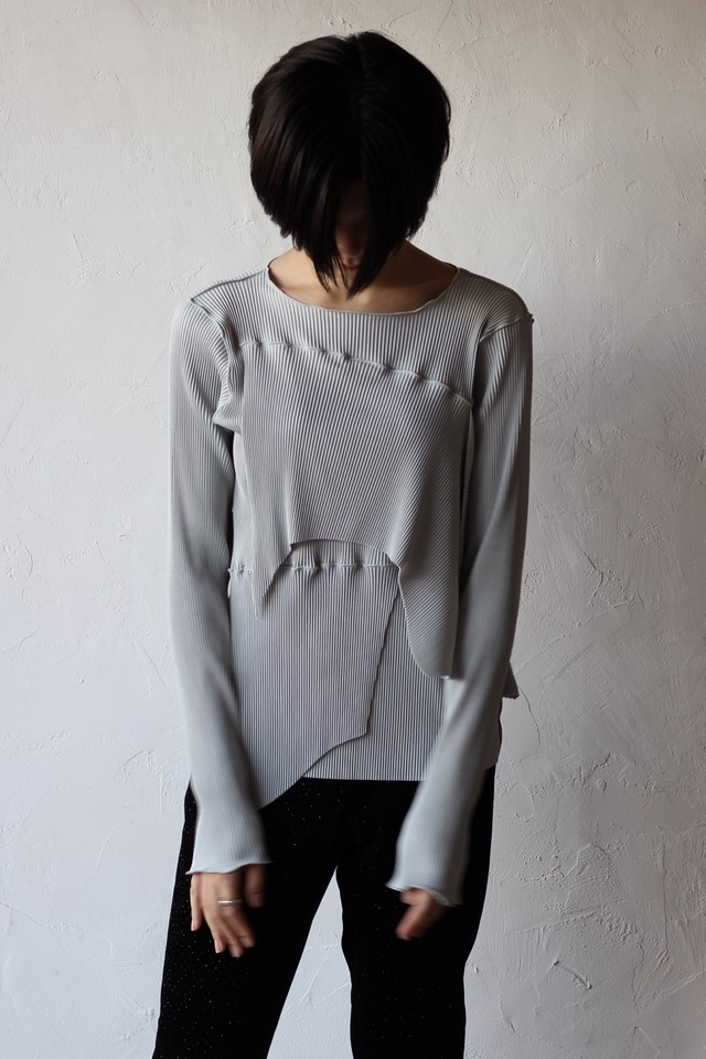 【kotohayokozawa】pleats top long sleeve-gray