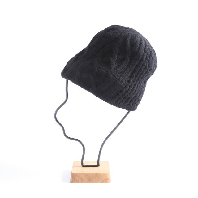 mature ha./slant cutting knit cap aran 2 lamb black