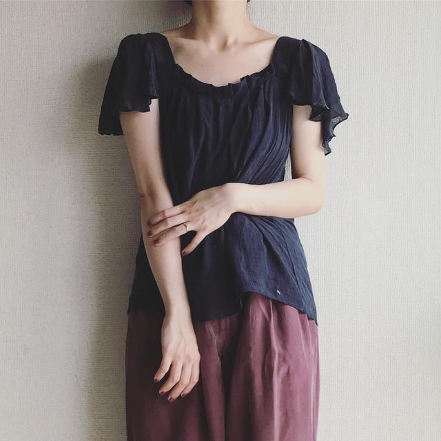 vintage silk frill sleeve top