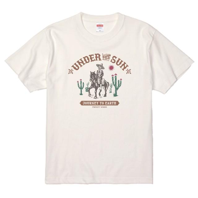 UNDER THE SUN WHITE 骸骨の旅 バニラホワイトTシャツ カラープリント メキシコ