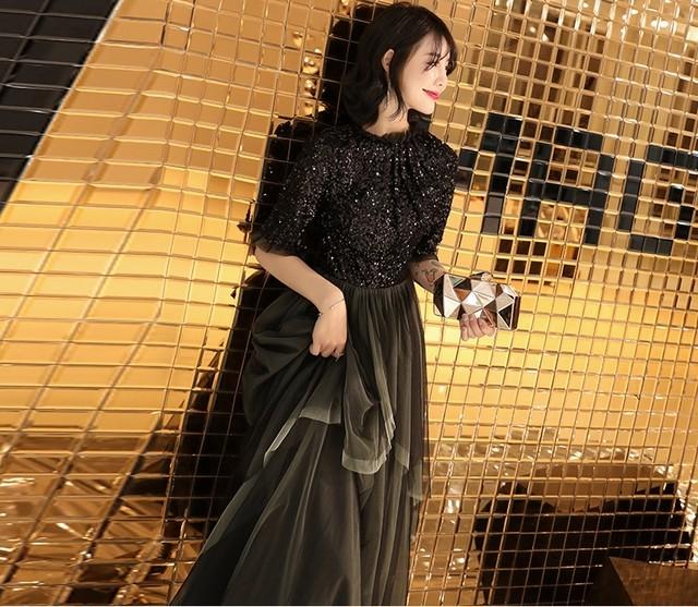 エレガント 5分袖  スパンコール  プリーツ チュール  スタンドカラー ブラック ロングドレス