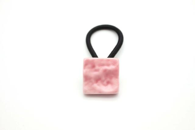 有田焼ヘアゴム  四角 ピンク