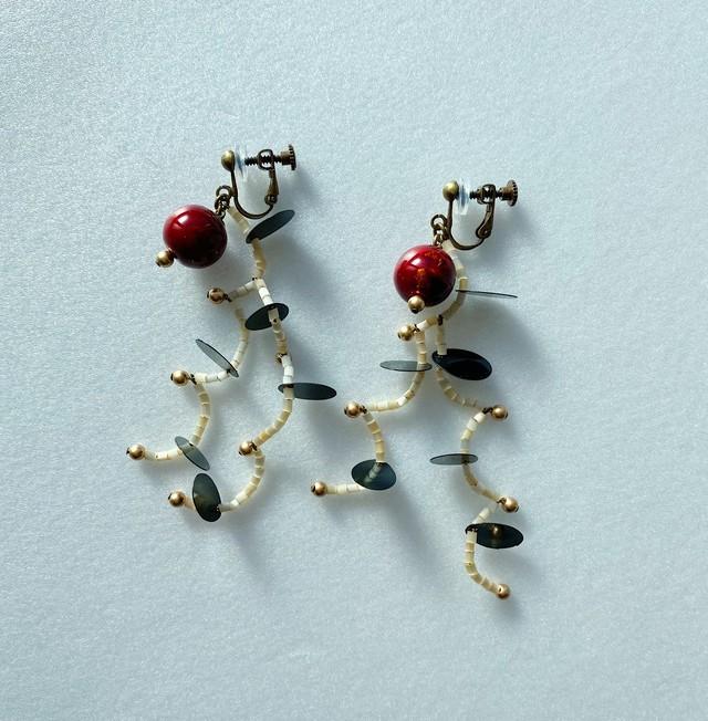 飛騨春慶のイヤリング 紅箔(A040)