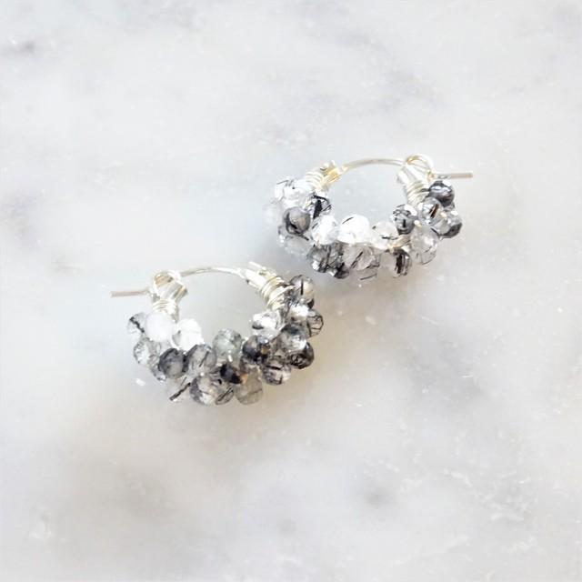 送料無料 SV925SF*Tourmaline pavé pierced earring / earring