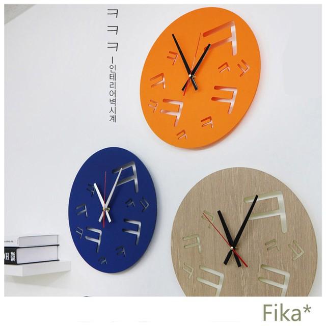 【韓国人気雑貨】 ㅋㅋㅋ ハングル時計 インテリアのアクセントに 全6カラー