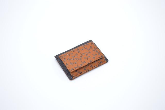 箱型小銭入(カード入れ付き)茶/黒 トンボ柄
