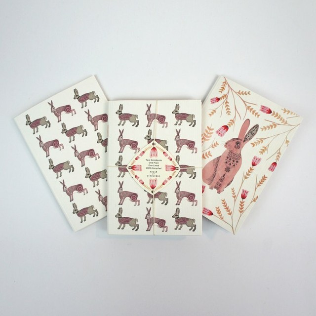 Set of Two Mini Notebooks - Hare