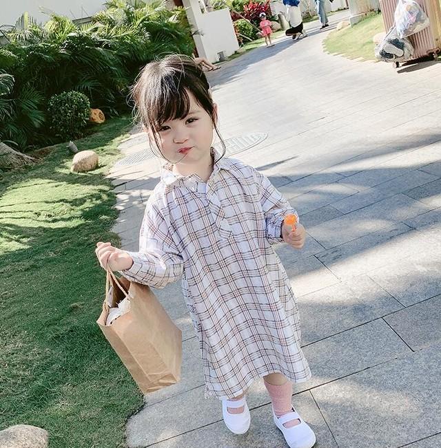 【可愛い韓国子供服】 6206 チェック シャツ ワンピース 女の子 カジュアル 送料無料