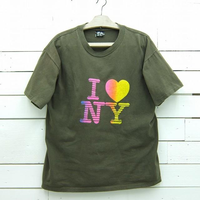 1980's OLD STUSSY オールド ステューシー I LOVE NY プリントTシャツ 黒タグ ビンテージ メンズ XLサイズ MADE IN USA
