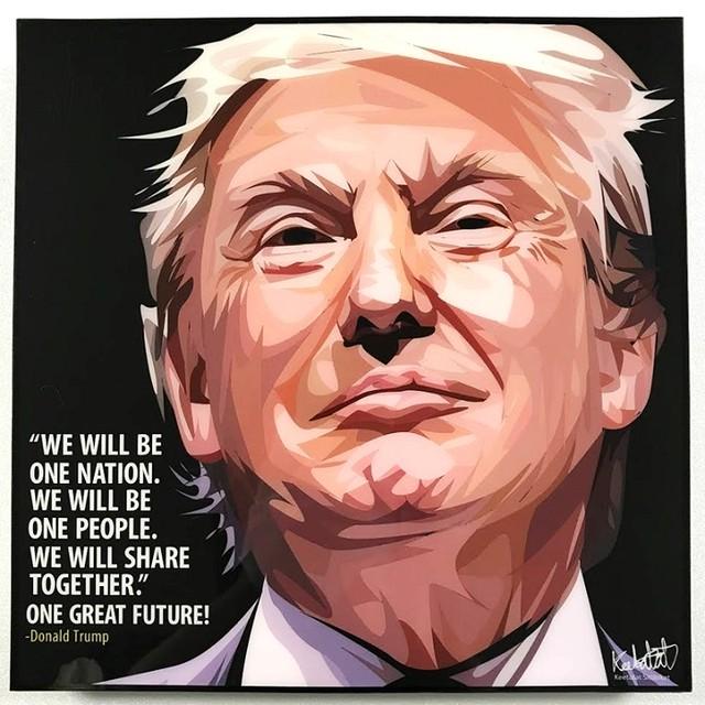 Donald Trump / ドナルド トランプ「ポップアートパネル Keetatat Sitthiket」ポップアートフレーム ポップアートボード グラフィックアート ウォールアート 絵画 壁立て 壁掛けインテリア 額 ポスター プレゼント ギフト インスタ映え 偉人 キータタットシティケット