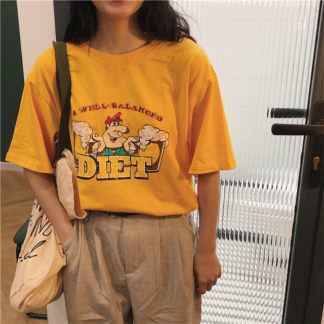 【tops】ルーズカジュアルプルオーバーカートゥーンプリント合わせやすい半袖Tシャツ