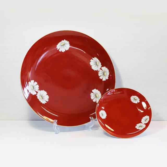 【R-124】オールドノリタケ朱菊 大皿・小皿セット