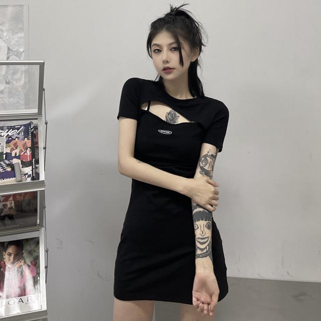 【ワンピース】韓国系半袖ラウンドネックAライン透かし彫りワンピース47249316