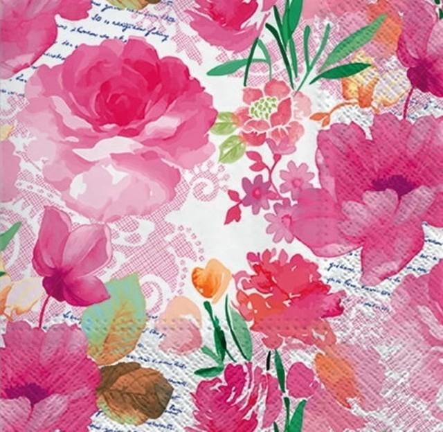 【PAW】バラ売り2枚 ランチサイズ ペーパーナプキン ROMANTIC DIARY ホワイト