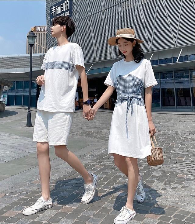 ギンガムチェック ビスチェ Tシャツ ワンピース 0750 メンズハーフパンツ カップル ペアルック リンクコーデ カジュアル お揃い デート