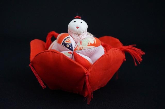着物、和服の古布人形「花人形・女の子」 - メイン画像