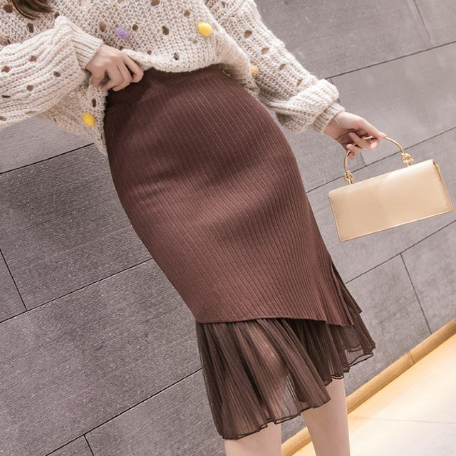 異素材切り替え リブニットスカート