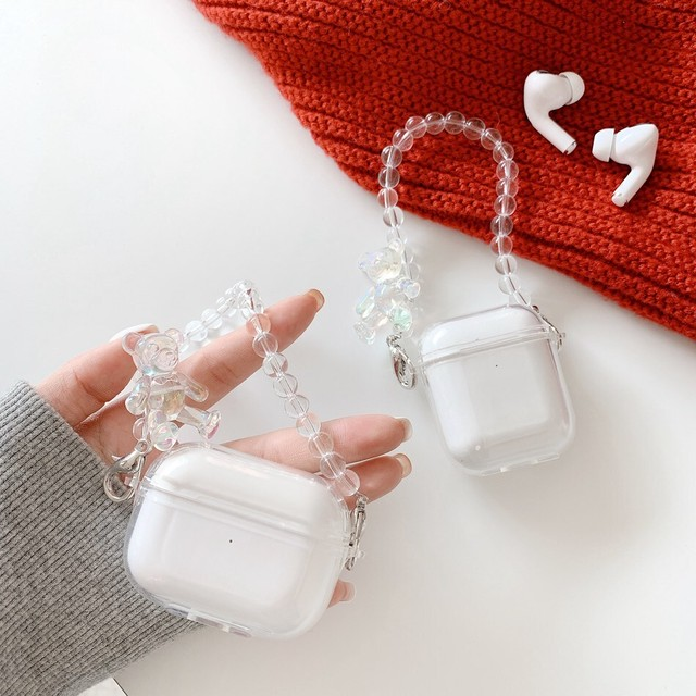 Bear crystal chain airpods case
