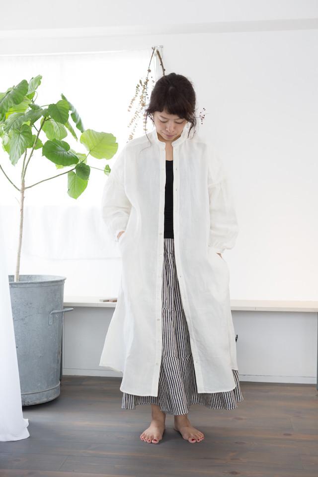 【受注製作】スタンドカラービックシャツ ベルギーリネン white