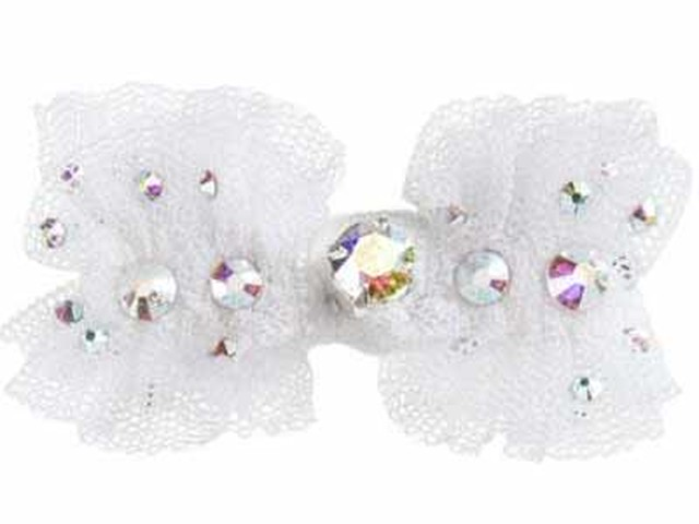 FOR PETS ONLY WHITE BOW TULLE AND SWAROVSKI HAIRC (PE2019-J8)