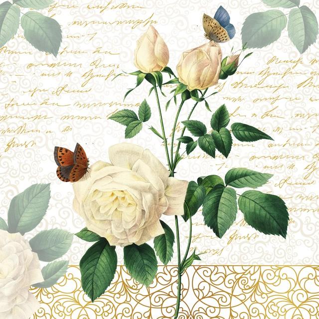 【Paper+Design】バラ売り2枚 ランチサイズ ペーパーナプキン ROSE LACES ホワイト