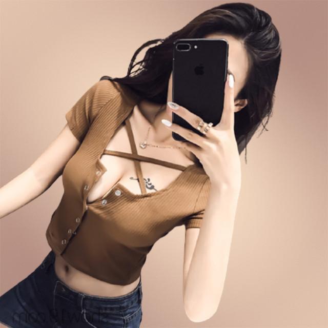 【トップス】セクシー合わせやすい大人気 細見えカジュアル無地ボウタイTシャツ20497768