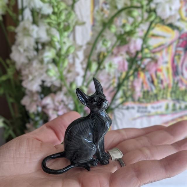 【ミニチュア陶器】Sphynx cat~Gray~