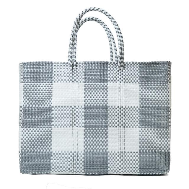 MERCADO BAG CHECK - White × Silver (L)
