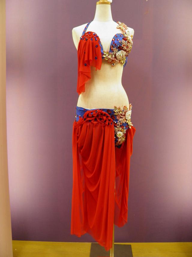 エジプト製 ベリーダンス衣装 コスチューム オリエンタル ブルー&レッド